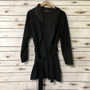 Zara Basic Coat Black/ Belted Size Large